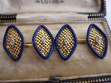 Edwardian 18ct yellow gold blue enamel diamond latticed solid quality cufflinks